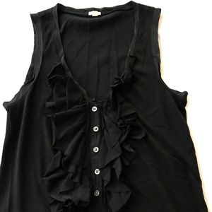 J. Crew Black Ruffle Button Down Tank